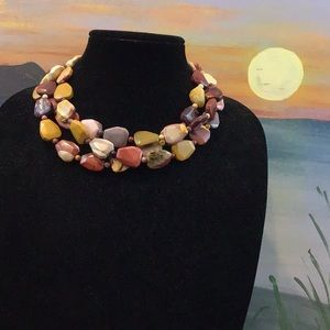 MOOKAITE NECKLACE W/ SS HARDWARE